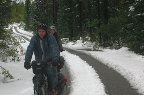 In Canada we were caught off guard by an early winter storm and had to pedal through snow for weeks