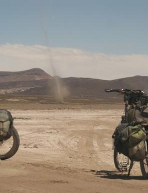 Dust devil ripping across the Bolivian Altiplano just north of the Salar de Uyuni