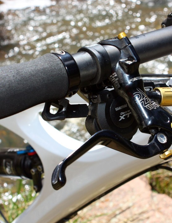 Formula's The One brakes are remarkably strong and easy to control while Shimano's latest 10-speed Deore XT Dyna-Sys group snapped off accurate shifts even with full-length housing