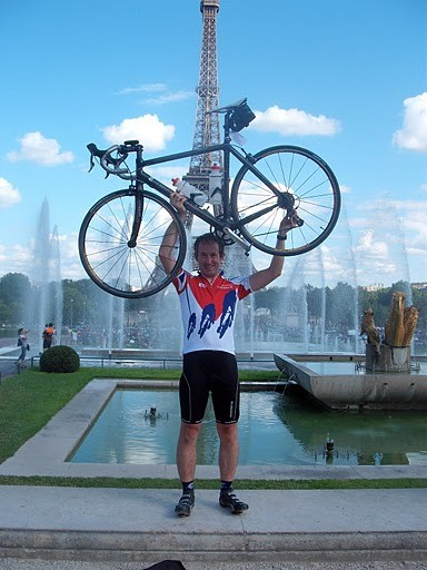 Andy's bike is huge! About half the size of the Eiffel Tower!