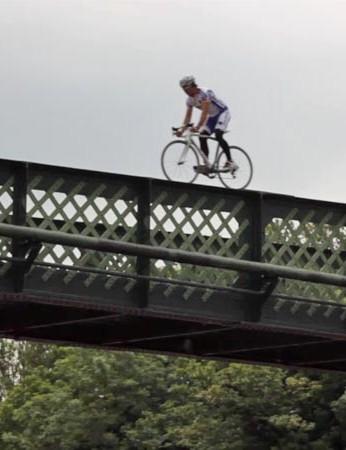 Ashton rides the bridge