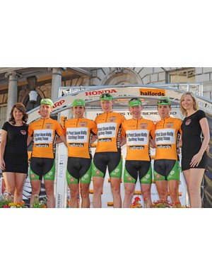 The AN Post Sean Kelly cycling team take the overall Orange Jersey