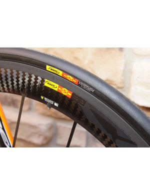 Orbea's Orca was outfitted with a 2011 version of Mavic's Cosmic SLR clincher
