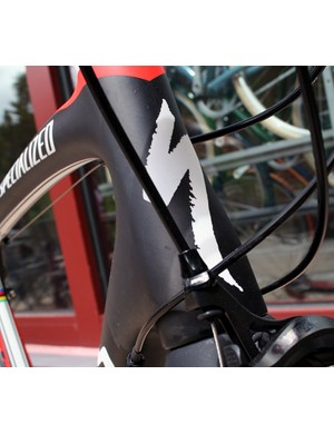 A beefy tapered head tube on the Tarmac, similar to the other Specialized bike models