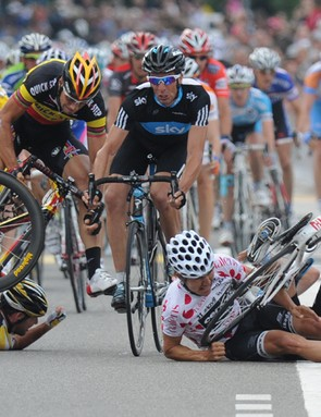 Tom Boonen runs over Mark Cavendish's head in the crash that put him out of the Tour de France