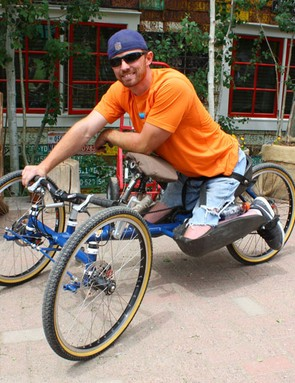 Jake O'Connell and his hand-pedaled beast