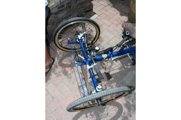 The front end of Jake O'Connell's bike