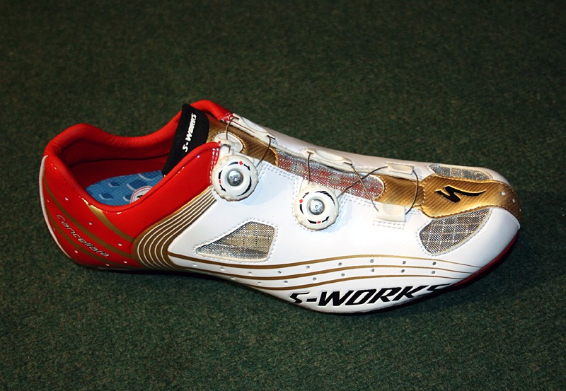 The S-Works shoe in Fabian Cancellara colours