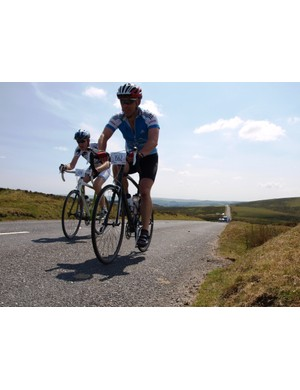 Dave Hill and a fellow rider find there is no escape from the sun out on the moor