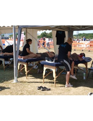There were plenty of takers for a post-ride massage