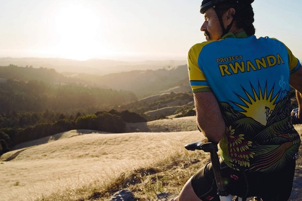 Tom proudly wears the jersey of his charity endeavour: Project Rwanda