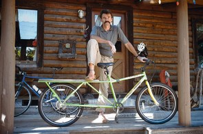 Tom with one of his finished  Coffee Bikes, which helps Rwandan coffee farmers