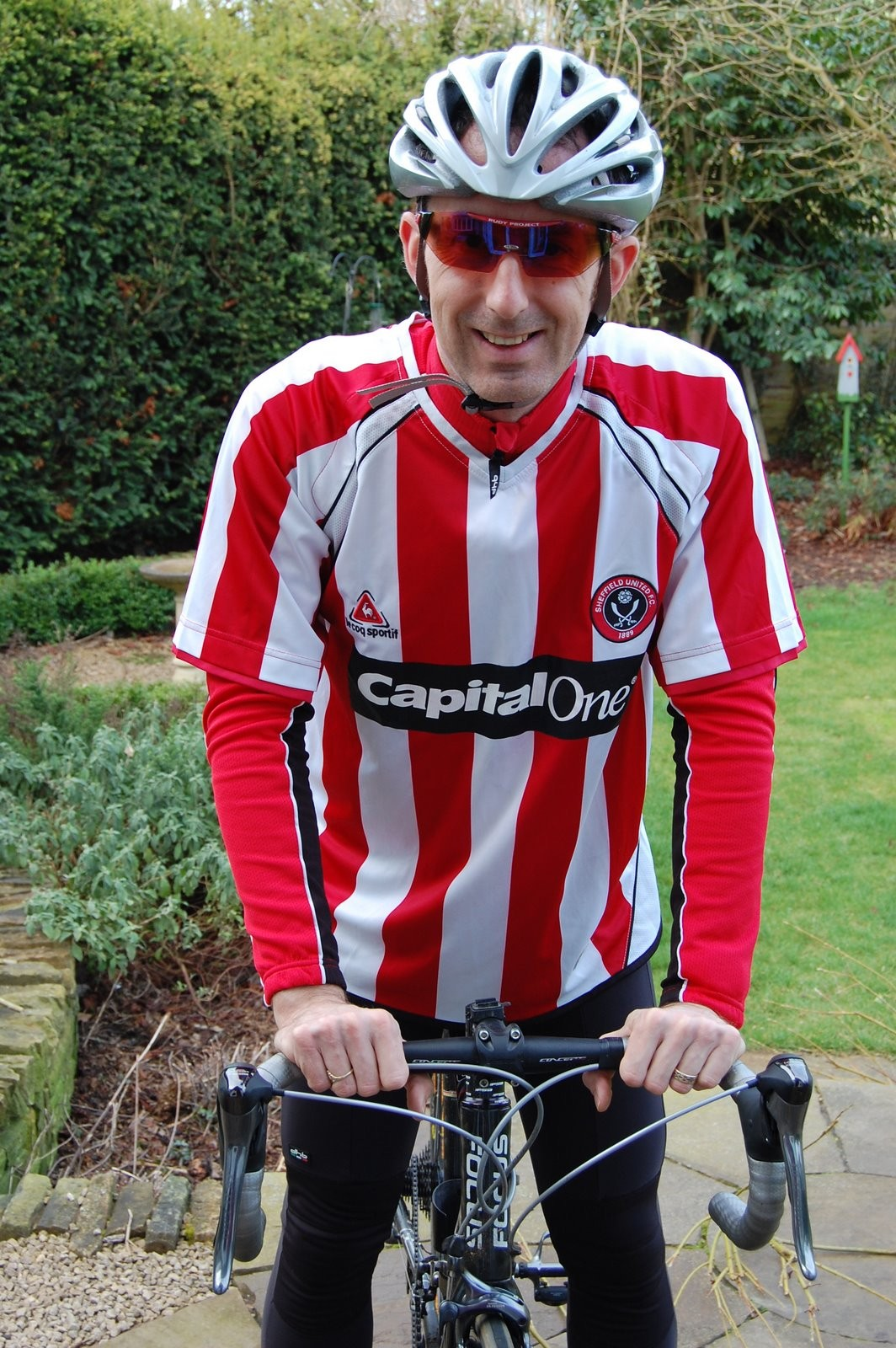 Andy showing his true colours...as a Sheffield Utd supporter!