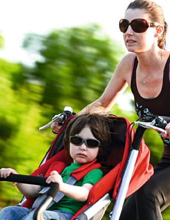 Taga child carrier bike and luxury baby stroller in one