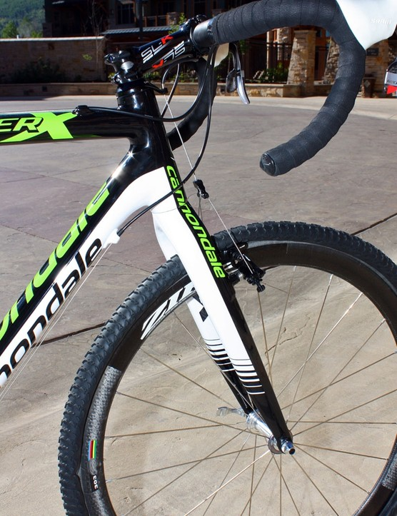 Cannondale equip the new SuperX carbon frames with full-carbon forks and tapered 1-1/8 to 1-1/4in steerers for improved braking solidity and steering precision