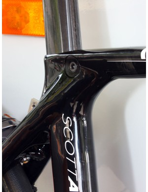 The seatpost binder is neatly integrated into the frame