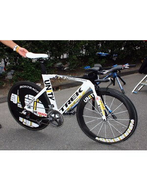 Lance Armstrong (Team Radioshack) has not just one but two of these specially painted Trek Speed Concept time trial bikes to use in this year's Tour de France. This is his spare machine