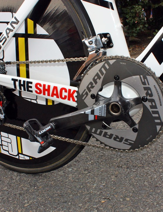 Armstrong's spare bike features a full SRAM drivetrain