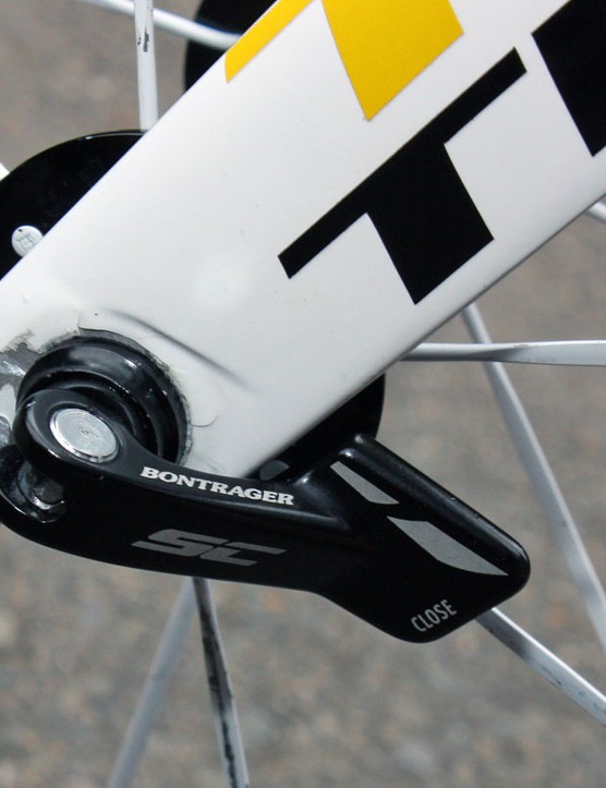 Bontrager's new 'SC' skewers tuck neatly behind the fork blade and rear dropout