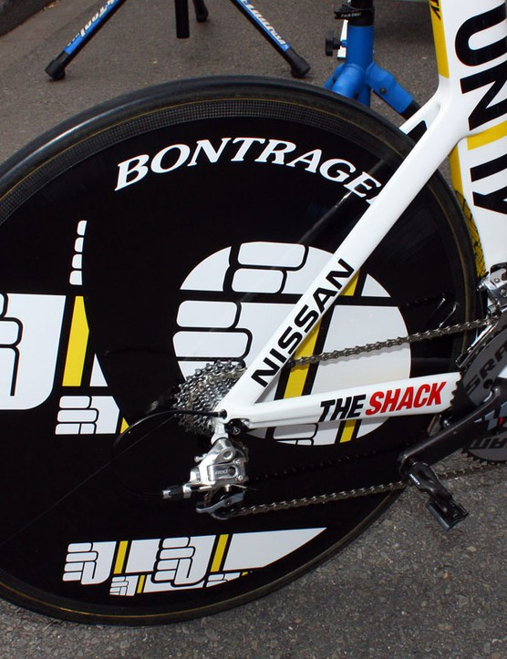 The rear disc wheel is badged as a Bontrager but the underlying pattern suggest it's a Lightweight instead