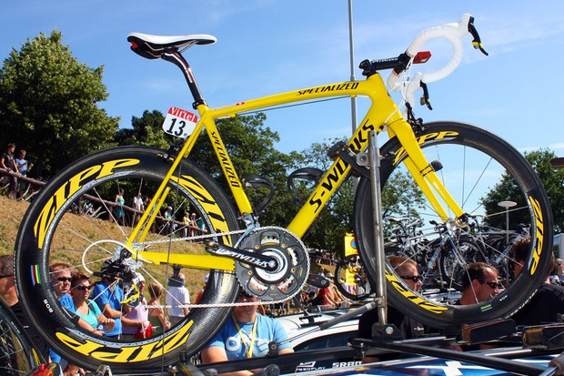 Specialized were waiting in the wings with a bright yellow frameset in case one of their riders was in yellow. They didn't have to wait long, either, after Fabian Cancellara assumed the role as race leader after winning the prologue