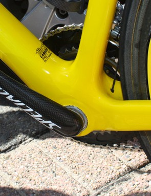Lots of carbon fibre and Specialized's oversized bottom bracket system help yellow jersey wearer Fabian Cancellara put the power down