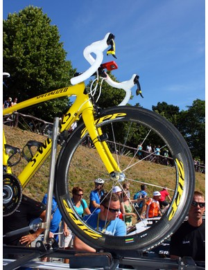 Zipp get into the game, too, with yellow decals on the 404 carbon tubular wheels