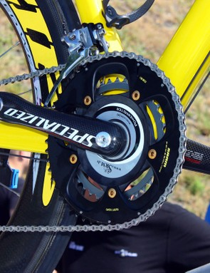 Check out the SRAM Red LTE group's yellow accents and the gold chainring bolts (and pedal end caps!) on Fabian Cancellara's Specialized S-Works Tarmac SL3