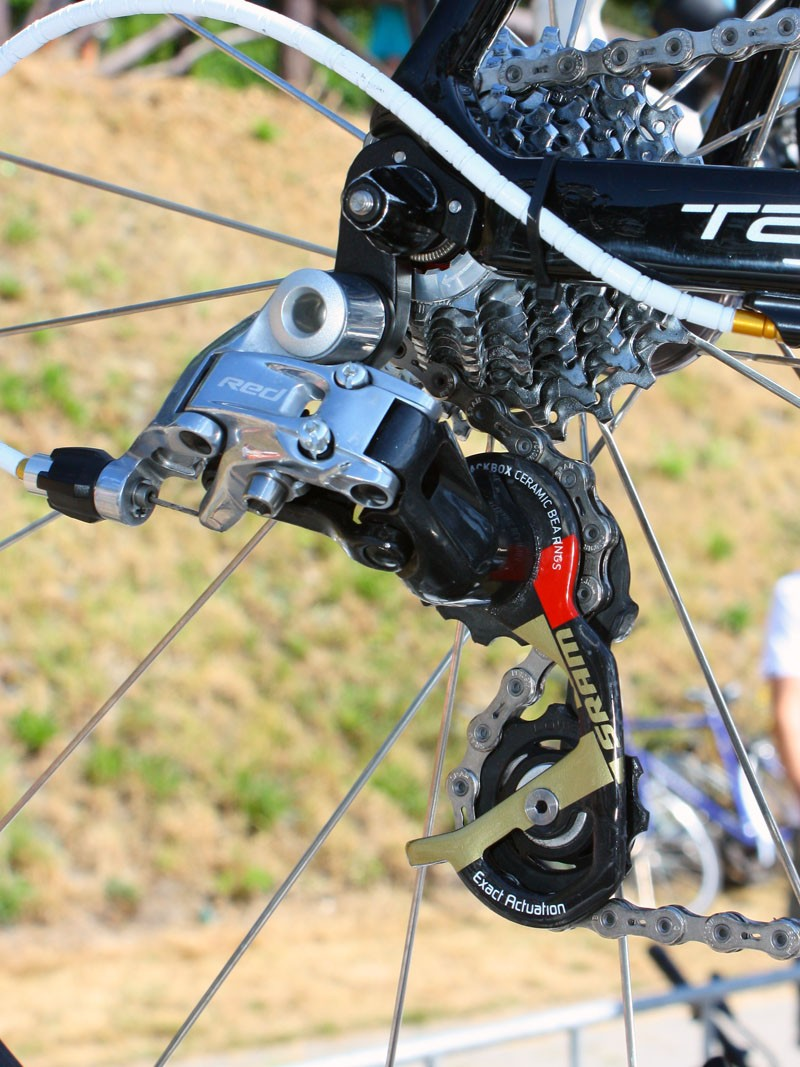 Cancellara had a bright all-yellow machine to mark his status as GC leader but even his standard bike is special with gold-accented SRAM Red components to celebrate his Olympic gold medal