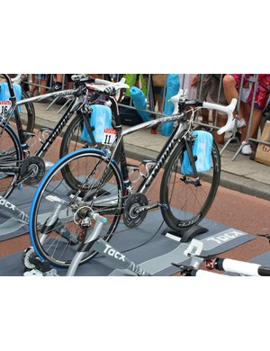 Andy Schleck's metal-look Specialized S-Works Tarmac SL3 is decorated to celebrate his Luxembourg heritage – and yes, that's brother Frank's bike just next to it