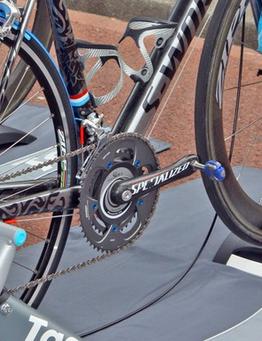 Andy Schleck's Specialized FACT carbon crankset is dressed up with blue anodised aluminium chainring bolts