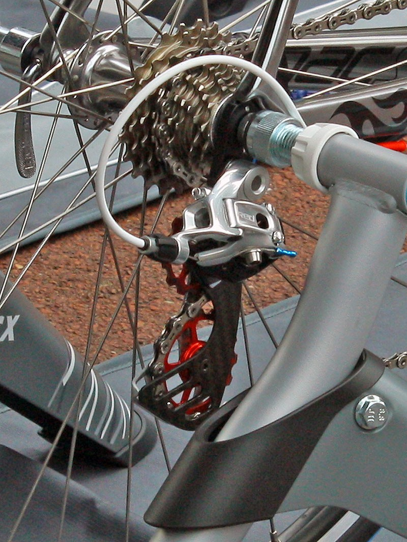 SRAM Red derailleurs fitted with oversized Berner carbon fibre cages and pulleys are a hot item at this year's Tour with users including both of the Schleck brothers, team-mate Fabian Cancellara, and Lance Armstrong (Team RadioShack)