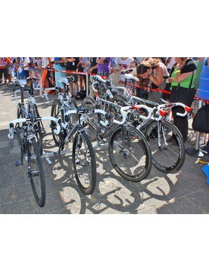 Saxo Bank's Specialized S-Works Tarmac SL3 machines before the start of Stage 2