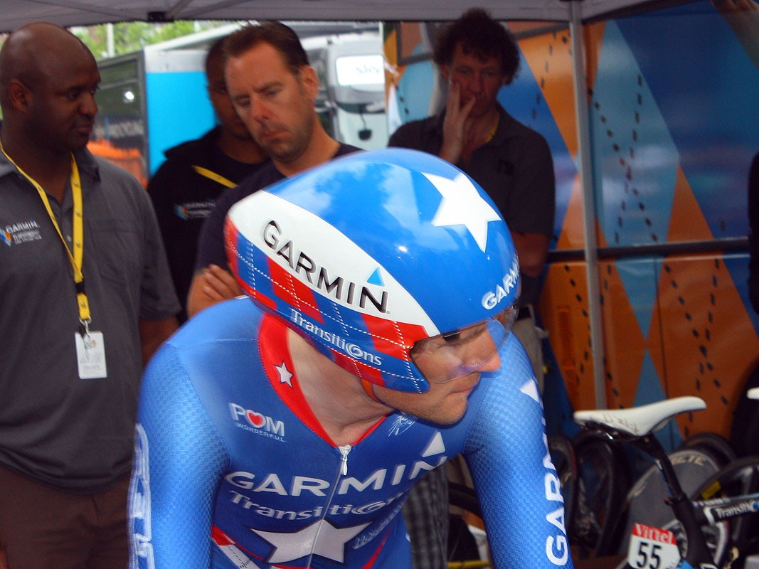 David Zabriskie (Garmin-Transitions) used a further evolution of Giro's TT-284 aero helmet in the 2010 Tour de France prologue