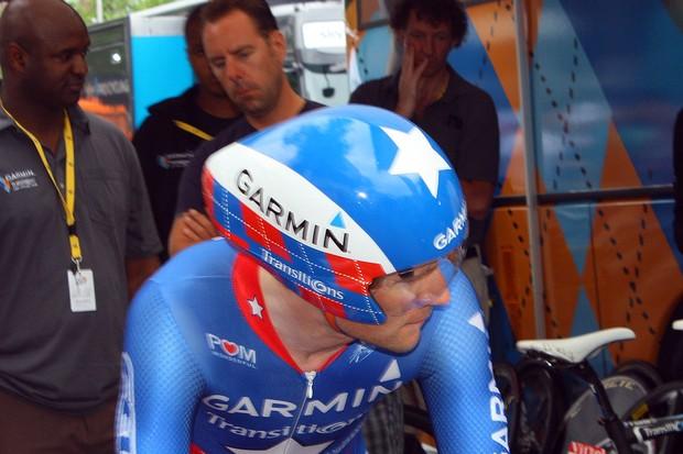 David Zabriskie (Garmin-Transitions) used a further evolution of Giro's TT-284 aero helmet in the 2010 Tour de France prologue