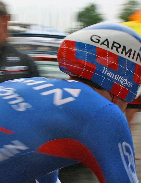 The tail of Zabriskie's helmet is noticeably more blunt than the TT-284 and sports no external vents