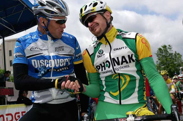 Lance Armstrong and Floyd Landis on more friendly terms in 2005