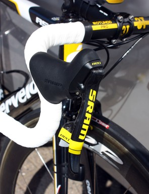 Yellow details are littered throughout Sastre's bike