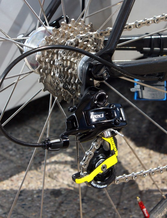 The SRAM Red LTE rear derailleur is bolted to a replaceable alloy hanger