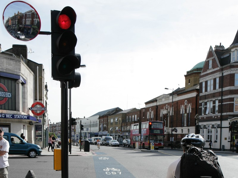 The first Trixi cycle safety mirror to be trialled in a UK city has been installed at a traffic signal in Tooting