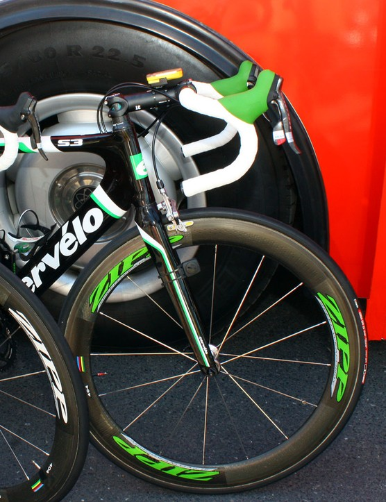 Hushovd's green machine is decidedly more subtle than some other celebratory bikes we've seen