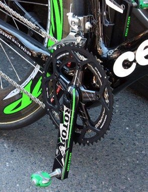 Rotor had a set of green-accented 3D cranks at the ready for Cervelo TestTeam sprinter Thor Hushovd. Speedplay also get into the game with extra stiffly-sprung Zero pedals