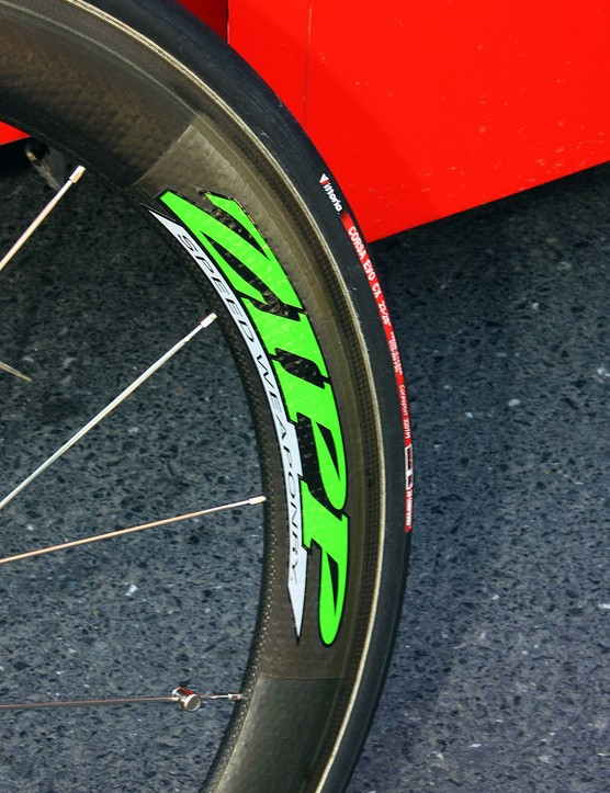 Zipp decorate Hushovd's 404 and 808 carbon tubulars with bright green decals