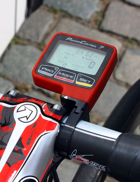 A 'blood red' SRM PowerControl 7 computer matches the rest of the paint job perfectly.