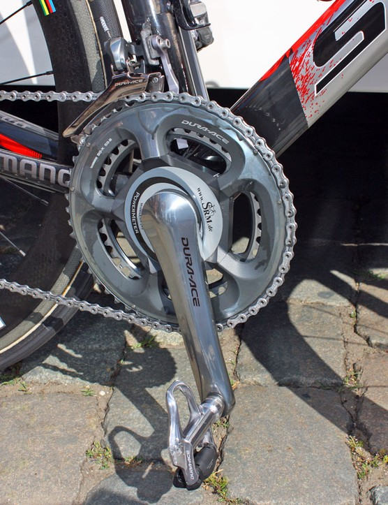 Cavendish's Shimano Dura-Ace 7800 crankarms are fitted with a 7900-compatible SRM power measuring spider.