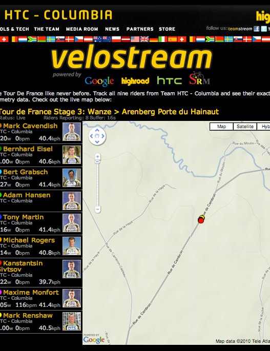 The team's real-time information is available on several sites, including Google, SRM, and HTC's own as seen here.