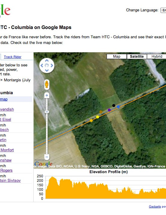What's the order of the HTC riders in the bunch?  The GPS resolution is fine enough to discern that, too.