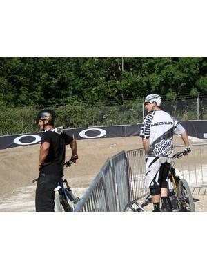 Chris Kovarik and Lukas Mechura check the line