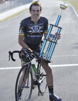 Alex Dowsett with his Hot Lap trophy
