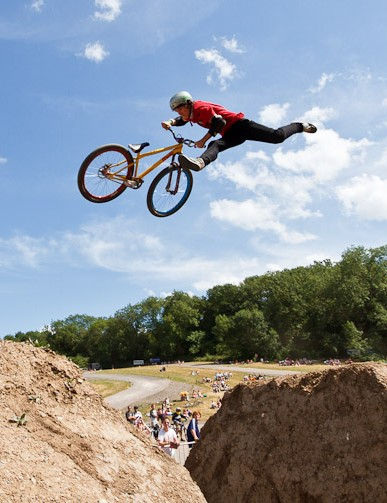 Despite moves like this, Ryan Nangle didn't make the podium in the MBUK Dirt Jump Invitational, showing how high the standard was